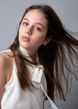 Teenager With Hair Blowing Back Stock Images