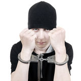 Teenager in Handcuffs Royalty Free Stock Photography