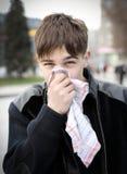 Teenager with Handkerchief. Walk on the City Street Stock Photo