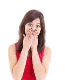 Teenager with hands over mouth Stock Image