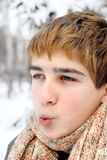 Teenager on hard frost Stock Photo