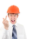 Teenager in Hard Hat shows Middle Finger Stock Photo