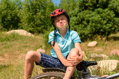 Teenager has fallen from bicycle and was traumatized Royalty Free Stock Images