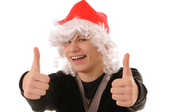 Teenager in hat santa Royalty Free Stock Photos