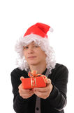 Teenager in a hat santa Stock Image