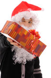 Teenager in a hat santa Royalty Free Stock Images