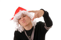 Teenager in  hat santa Royalty Free Stock Image