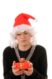 Teenager in a hat santa Stock Photos
