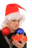 Teenager in hat santa Royalty Free Stock Images