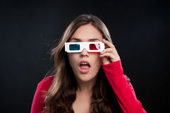 Teenager having 3D cinema experience Stock Photo