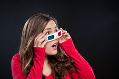 Teenager having 3D cinema experience Royalty Free Stock Images