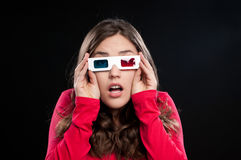 Teenager having 3D cinema experience Royalty Free Stock Image