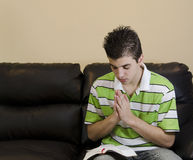 Teenager Having A Chirstian Devotional Stock Photos