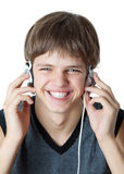 Teenager with headphones. Stock Images