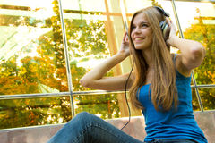 Teenager with headphones Stock Photo