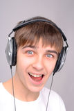 Teenager in headphones Stock Photo
