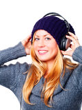 Teenager with headphones listening music Stock Photo