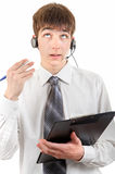 Teenager with Headset and Clipboard Stock Photos