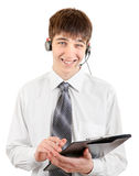Teenager with Headset and Clipboard Royalty Free Stock Image
