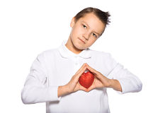 Teenager with a heart Stock Photos