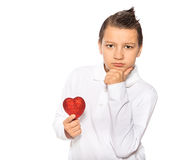 Teenager with a heart Royalty Free Stock Image
