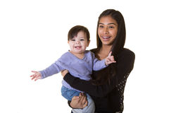 A teenager and her baby sister Stock Images