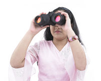 Teenager with her binoculars royalty free stock photos