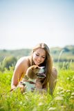 Teenager with her dog Royalty Free Stock Images