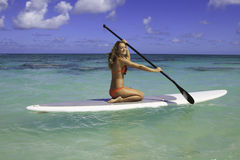 Teenager on her paddleboard Stock Photography