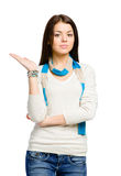 Teenager with her palm up Royalty Free Stock Image