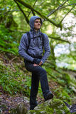 Teenager hiker on a trail Stock Images