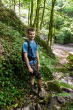 Teenager hiker on a valley Royalty Free Stock Images