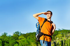 Teenager hiking Stock Images