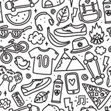 Teenager cartoon hipster objects seamless vector pattern outline. Teenager hipster objects seamless vector pattern black and white Stock Images