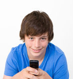 Teenager on his mobile Stock Photo