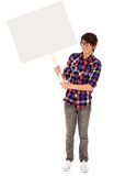 Teenager holding blank poster Royalty Free Stock Photo