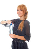Teenager holding in hands water bottle Stock Photos