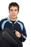 Teenager holding a laptop bag Royalty Free Stock Photos