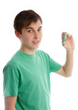 Teenager holding some money Royalty Free Stock Images