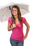 Teenager holding umbrella Royalty Free Stock Photos