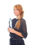 Teenager holding water bottle Stock Photo