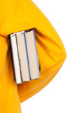 Teenager holds book under arm. On white background Stock Photography