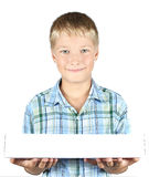 The teenager holds in hands a box Stock Photography