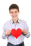 Teenager holds Red Heart Shape Royalty Free Stock Photography