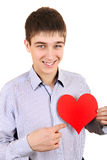 Teenager holds Red Heart Shape Stock Images