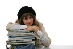 Teenager at home wokring on her studyies Royalty Free Stock Photo