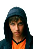 Teenager in hood stock image