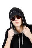 Teenager in Hood. And Sunglasses Isolated on the White Background Royalty Free Stock Images