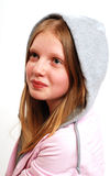 Teenager with hooded top. Portrait of female teenager with hooded top; isolated on white background Royalty Free Stock Image