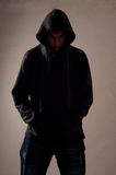 Teenager with hoodie look ahead royalty free stock images